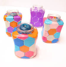 How To Decorate A Jar With Tissue Paper Honeycomb hexigon jars from Creative Jewish Mom Jewish Holidays 2