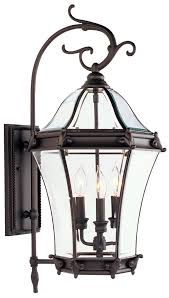 3 light bronze outdoor wall lantern
