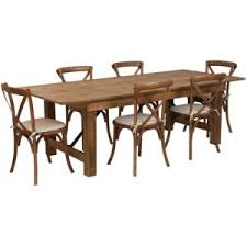 rustic farm table with 6 cross back chairs and burlap cushions