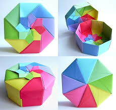 17 best images about origami box origami paper rainbow octagonal flower top box tomoko fuse by dahlia k via flickr