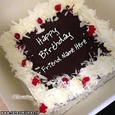 Friend Name Chocolate Birthday Wishes Cake Image
