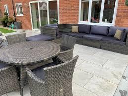 branded leisuregrow madrid rattan garden furniture large modular corner sofa set dining set vgc