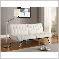 modern white faux leather futon bed sofa for small spaces living room bedroom for