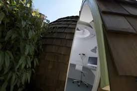 backyard office pod. The Structure Itself Is Made From Reused Or FSC-certified Timber, Tightly Insulated With Recycled Glass Fiberglass Insulation, Heated An Efficient Backyard Office Pod 0