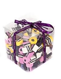 liquorice allsorts gift cube finished with purple ribbon