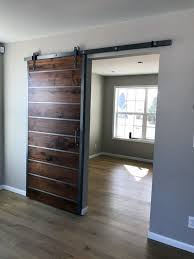 Modern Sliding Door with Brushed Steel Accents - Special Walnut