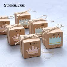 <b>50pcs</b> Candy Box <b>Little Prince Princess</b> Crown Kraft Paper Gift ...