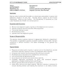 medical receptionist duties for resume examples of resumes for receptionist sample resume receptionist
