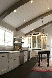 wood ceiling lighting. White Wood Ceiling Light Exposed Beam Lighting Kitchen Rustic With Stainless Steel Appliances