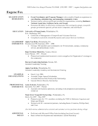 event planner sample resumes template event planner sample resumes