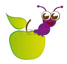 purple apple clipart. green apple and purple worm cartoon isolated over white background. vector clipart