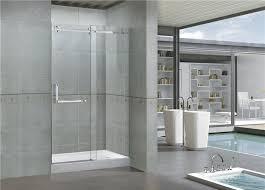 8mm self cleaning frameless glass shower doors with stainless steel accessories
