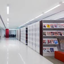 library shelving on high density mobile storage