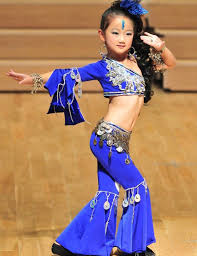 Hot Sale Kid Girl Custom Size Blue Belly/Indian Dance Suit (top+pants)