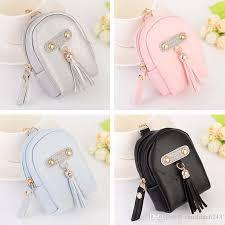 lady s pu leather coin purse tassels backpack metal keychain keyring car keychains purse charms handbag pendant