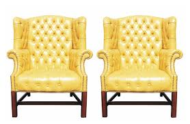 wingback chairs for sale. Simple Sale Pair Of Wormley Style Wingback Chairs In Yellow Naugahyde  For Sale Inside E
