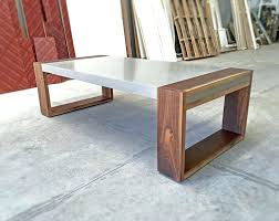 polished concrete and walnut coffee table wood large square