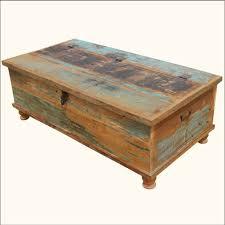 wood distressed coffee table storage