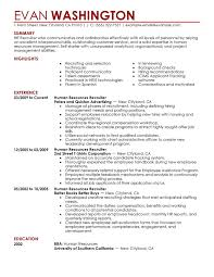 Recruiting and Employment resume example