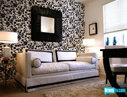 ondines room from top design black white contemporary office design with black white flower wallpaper lovely white sofa with black border piping and black and white office design