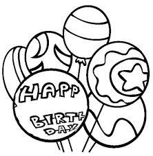 Happy Birthday Balloon Coloring Page Coloring Sky