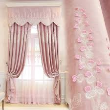 Pink Curtains For Bedroom Princess Pink Embroidery Curtains Jacquad Tulle Curtains Elegant