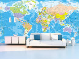 world political map wall mural in room