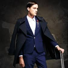 2018 aimenwant brand mens clothing england spring double ted gentleman trench coat british male slim fit navy blue pea coats from octavi