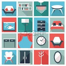 creative furniture icons set flat design. Furniture Icons Vector Creative Set Flat Design