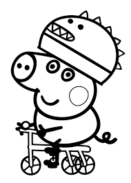 Here's another coloring page of peppa pig cycling with george in a warm, summer noon. Peppa Pig Coloring Pages Coloring Rocks