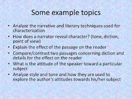 the prose essay types of prose a work of fiction or non fiction  some example topics analyze the narrative and literary techniques used for characterization how does a narrator