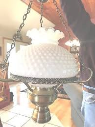 vintage white milk glass hobnail by fenton hurricane hanging lamp chandelier