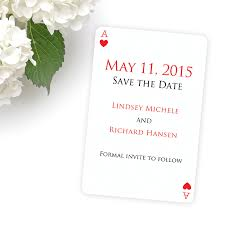 Red Save The Date Cards Las Vegas Wedding Invitations Save The Date Playing Card With Red Back