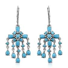 arizona sleeping beauty turquoise platinum over sterling silver lever back chandelier earrings tgw 4 35 cts silver jewelry promotions