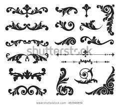 Vignette Design Ornate Scroll Decorative Design Elements Vintage Royalty