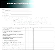 Employee Performance Evaluation Template Annual Review Forms