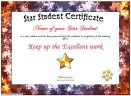 Star Of The Month Certificate Template Star Student Certificates Rome Fontanacountryinn Com