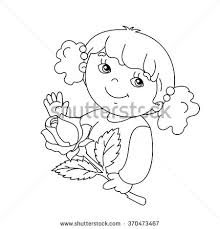 Small Picture Coloring Page Outline Cute Girl Card Stock Vector 370456103