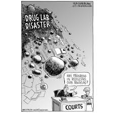 editorial cartoon drug lab disaster the boston globe