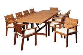 ia colony 11 piece eucalyptus extendable rectangular dining set