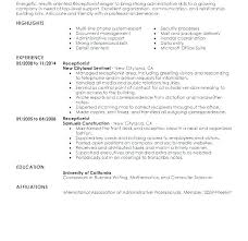 Reception Resume Receptionist Resume Objective Emelcotest Com
