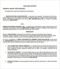 Lease Contract Sample Property Caretaker Lease Agreement Sublease Contract Template 9 Free