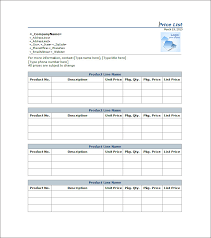 emailing list template price list template 25 free word excel pdf psd format