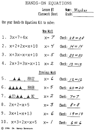 collection of hands on equations worksheets them and try