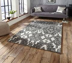 grey silver modern aztec rug spectrum 100 wool