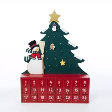 c6117 wooden snowman with tree advent calendar