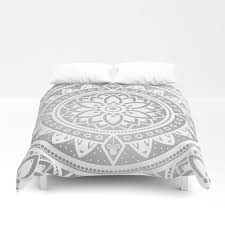 silver white patterned flower mandala duvet cover