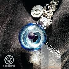 hand blown glass pendant with necklace lost in the milky way pendants nz