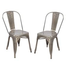 adeco metal stackable chic dining bistro cafe side chairs outdoor and