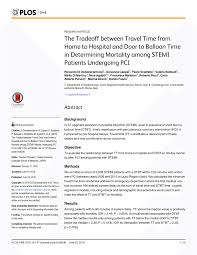 pdf the tradeoff between travel time from home to hospital and door to balloon time in determining mortality among stemi patients undergoing pci